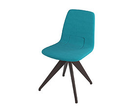 Chair TORSO 837-I POTOCCO Turquoise and dark 3D model 1