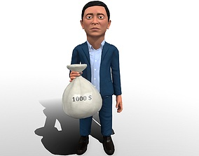 animated Andrew Yang stylized 3D caricature