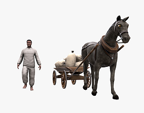 3D model Peasant 19th century and Horse with cart and