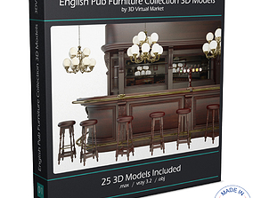 3D model English Pub Furniture and Lighting