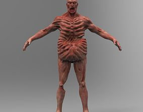 3D model Zombie Character Full Body infected T-posed
