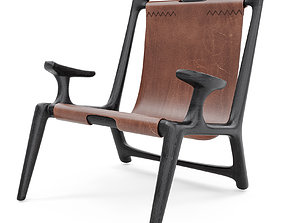 3D Fernweh Woodworking Sling chair Charcoal ash leather