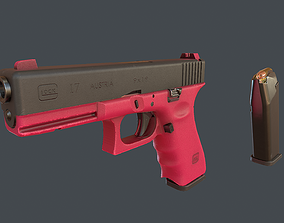 Pink Glock 17 with magazine 3D model