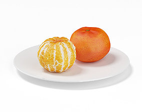 Tangerines on White Plate 3D