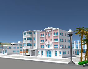 Voxel Miami Hotel Street - Pack 3 3D asset