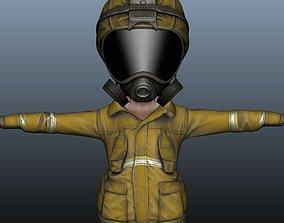 Firefighter Game Character 3D asset