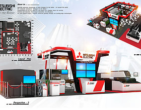 3D asset game-ready Misubishi booth design 15X12 m