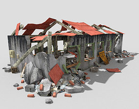 3D model low poly destroyed building 2