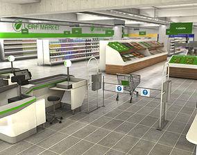 Supermarket interior with LOD 3D asset