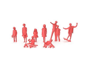 Low Poly Posed People Pack 17 - Kids 3D model