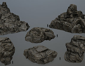 3D asset VR / AR ready cliff rocks other