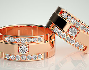 Wide Solitaire Couple Band Ring 3dm stl render detail