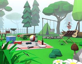 Campsite - Low Poly Camping Pack 3D asset