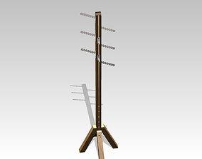 Wooden Adjustable Coat Rack 3D model