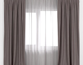 Brown curtains with tulle 3D
