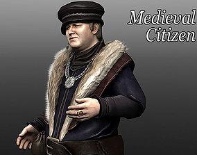 Medieval Citizen 3D asset animated