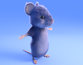3D model low-poly Mouse - grey - Cartoon style - rigged