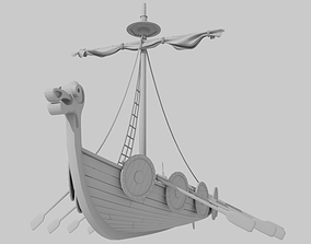 sea 3D model Viking boat