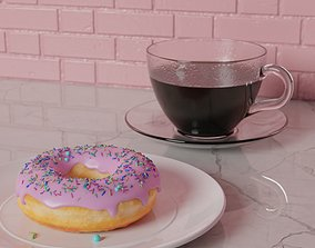loaf 3D model Donut and Coffee
