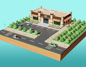 Low Poly Cafe Restaurant 3D model