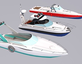 Pack Of 3low poly game ready speed boats 3D model