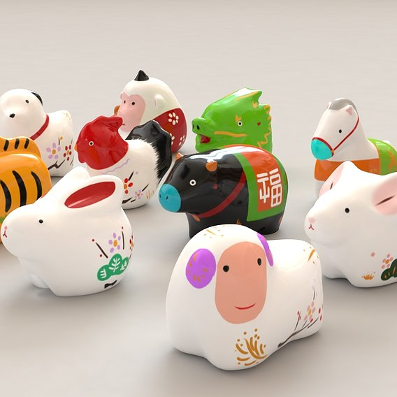 Japanese stylized zodiac figures