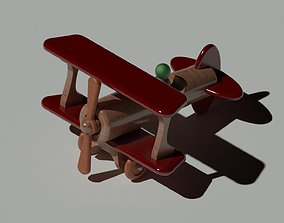 wooden toy plane 3D model