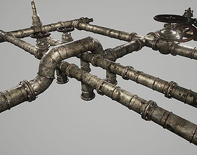3D asset VR / AR ready Rusted Pipes Pack