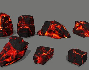lava rock 3D asset low-poly magma