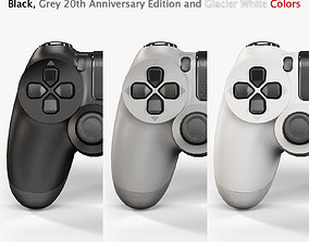 Sony PlayStation 4 Controller Black White Grey 3D model 1