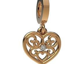 3D printable model Pendant Diamond Heart Gold Platinum