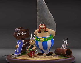 3D printable model asterix and obelix diorama