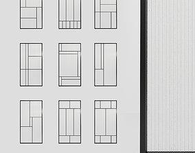Glass partition door Set 9 partition models 3D
