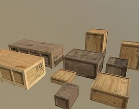 Cargo transport container crates pack 3D asset PBR