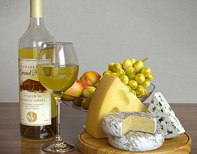 3D White Wine and Cheese