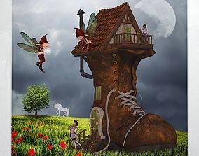 Canvas Art Fantasy Shoe House 3D model