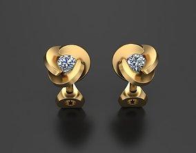 Stud Earrings golden 3D printable model