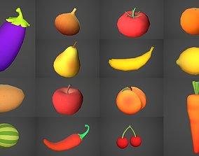 Fruits and Vegetables Cartoony Set 3D asset