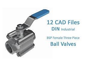3D model Three Piece Manual Ball Valves - BSP Threaded 1