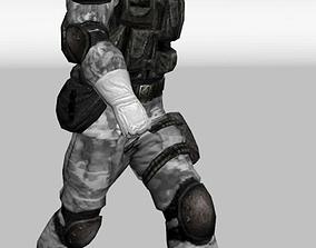 3D asset snow soldier low poly