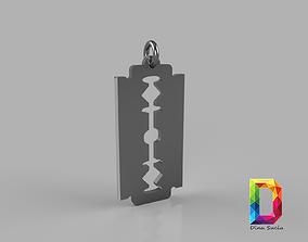 steel 3D print model Razor blade pendant