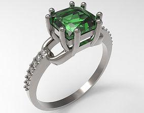 Ring emerald STL 3D print model