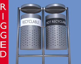 rigged Garbage Can 3D model made in Blender exterior 1