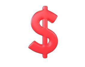Dollar Symbol v2 003 3D model