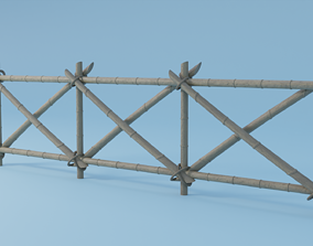 VR / AR ready Fence Set Low Poly Game Ready Low-poly 3D