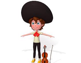 Mariachi boy cartoon 3D model