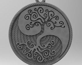 yin yang tree 3D printable model silver