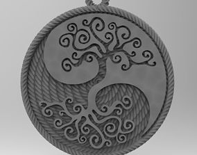 yin yang tree 3D printable model silver