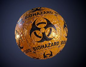 3D model Metal Yellow Biohazard Sign Sci-Fi Seamless PBR