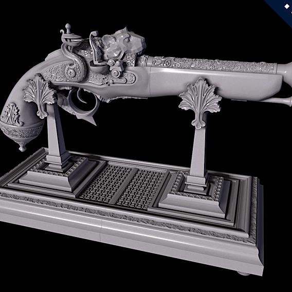 Flintlock Pistol & Pistol Display Stand (3D Printing)